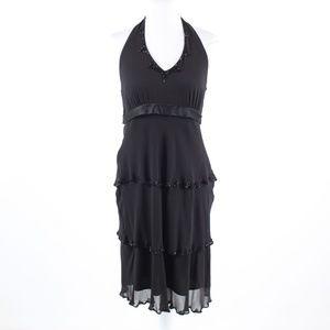 Black sheer NINE WEST halter neck tiered dress 10